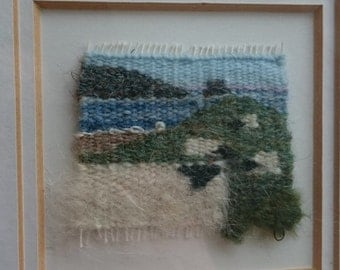 Vintage Sheep and Shore Landscape Seascape Scotland Hand Made Woven Wool Tapestry in Frame Original Textile Art