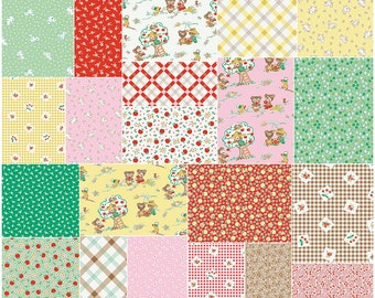 "Riley Blake APPLE FARM Precut 5"" Stacker Charm Pack Fabric Quilting Squares Penny Rose 5-5450-42"