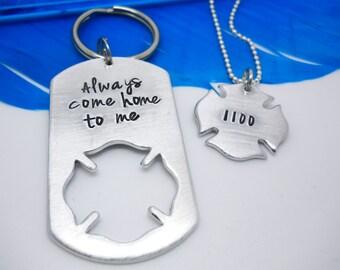 Gift for Firefighter, Fire Wife, Firefighter Gifts, Firefighter Keychain set, Fire Girlfriend, Fireman's Cross, Always come home, 247