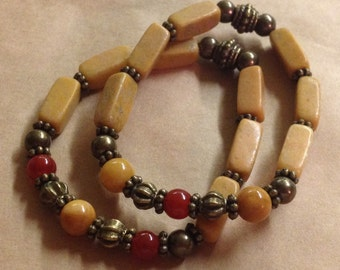 Pair Carnelian And Mustard Quartzite And Marble Gemstone Stacking Stretch Bracelets - Free U S A Shipping -