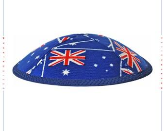 Kippah - yarmulke. Australian flags. Jewish wedding - Bar Mitzvah - Shabbat.