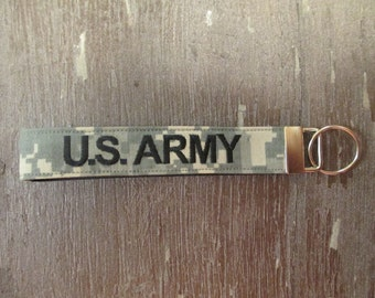 Military Wristlet, Army Custom Name Tape Branch Key Chain, Army Personalized Military Keychain, Army Key Fob