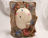 Vintage Hummingbird Flowers Frame Holder remade into Pin Cushion