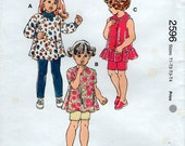 Toddler 4 sizes tunic leggings shorts Sewing pattern Kwik sew 2596