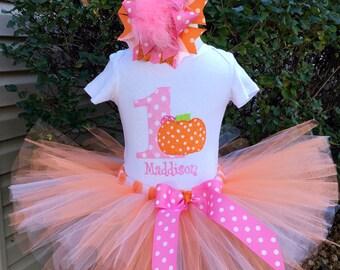 Baby Girl 1st Birthday Outfit - Pumpkin 1st Birthday Tutu Set - Pink and Orange - Cake Smash Photo Prop