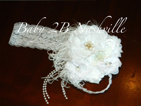 White Pearls and Lace Floral headband  to match your dress