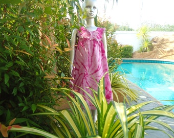 GIRLS kids  Summer Beachwear Hippy Handmade Tie Dye Pink Sun Dress DRESS Age -4-5-6