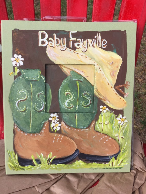 Cowboy Baby Photo Album in Greens and Browns