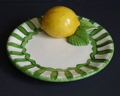 Lemon Plate Hand Painted Pottery Green & Yellow Studio Pottery