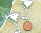 2-MARTINI CABS- Silver Mirror Cabochons - flat back cabs- Laser Cut Acrylic