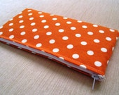 Polka Dots Bright Tangerine Orange - Cash Wallet, Clutch, Make Up Bag Large Zippered Pouch - Flat