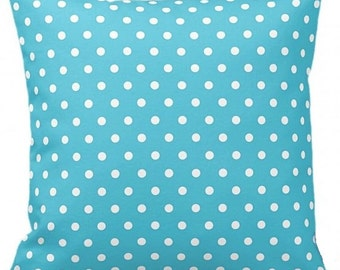 "POLKA DOTS On Blue  - Throw Pillow, Decorative Pillow, Pillow Cover, Pillow Insert, Pillow Case - SQUARE- 17"" x 17"" - Zipper Closure"