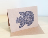 Greeting Card, Squirrel Linocut Greeting Card, Hand Printed Letter Press Card, Squirrel Blank Greeting Card