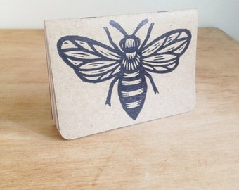 Travel Journal, Bee Journal, Honey Bee Notebook, Pocket Travel Journal, Hand Printed Linocut