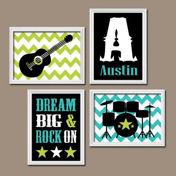 Guitar wall art music theme baby boy nursery decor big boy for Rock n roll baby crib set
