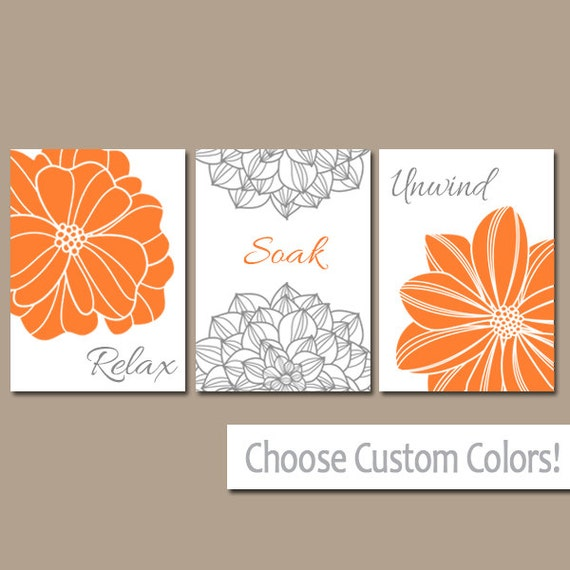 Bathroom Art Orange: Bathroom Decor Burnt Orange BATHROOM WALL Art CANVAS Or