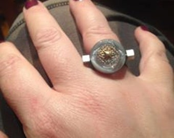 Gray and gold vintage glass button ring