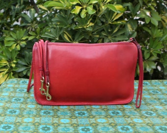 Vintage Coach NYC Cherry Red Zip Top Leather Convertible Shoulder Clutch Bag Bonnie Cashin