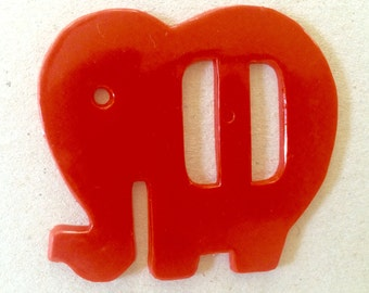 Vintage 30's Red Elephant Belt Buckle Plastic