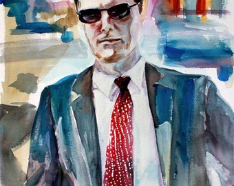 Criminal Minds Aaron Hotchner Watercolor by Ginette Free Shipping