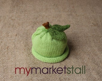 Green Apple Hat-Wool -  0 - 3 Months - Adult Sizes - Ready to Ship
