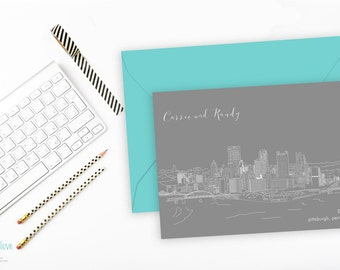 Pittsburgh Weddings, Modern, Custom Illustrated, Pennsylvania, City Skyline, Save the Date, Postcard, PA Wedding, Hand Drawn
