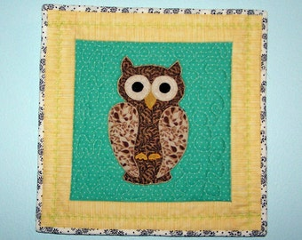 Nursery wall art quilted owl