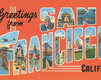 Greetings from San Francisco, CA Postcard by Cavallini to Mail or for Framing, Book Making, Decoupage, Collage, Scrapbooking & Paper Arts