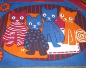 Reserved Collectionselection......Vintage 60s Mid Century Hand Printed Cat Kitten Burgundy Navy Blue Linen Placemat Lot of Four Signed BT