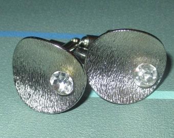 Vintage MOD Silver Tone Metal and Rhinestone Cufflinks