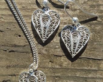 Parure - Silver Filigree Hearts