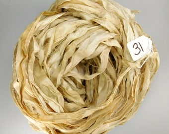 Sari silk Ribbon, Recycled Silk Sari Ribbon, Cream sari ribbon, off white sari ribbon, weaving supply, knitting supply