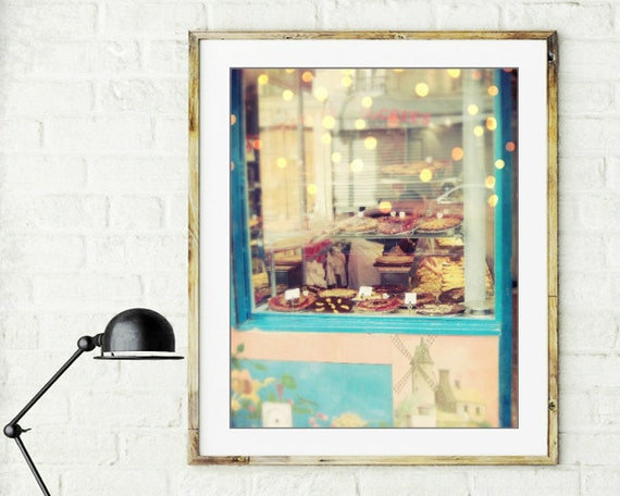 "Paris bakery print - pastel pink blue kitchen art - french sweets shop - pastel Paris decor ""Sucrees"""