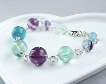 Fluorite Bracelet  Sterling Silver  Gemstone Jewelry Made For Her  Multi Colored Gem  Stone Bracelet Christmasinjuly