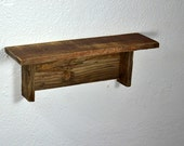Wood shelf rustic style 14 wide 4 deep