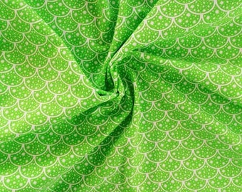 """NEW Lime Scales on cotton lycra knit fabric 95/5 58"""" wide."""