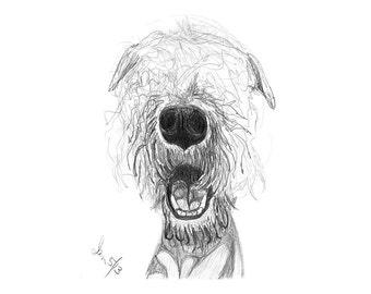 Custom Pet Drawing, Pencil Sketch From Photo, Digital File, Personalized Gift, Pet Memorial, Dog Drawing, DIY Printable, Inklets