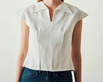 Vintage White Cotton Sailor Top