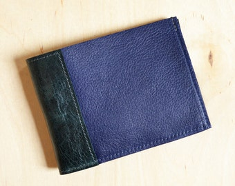 Mens Minimalist Wallet, Slim Leather Wallet, Gift for Him, Mens Bifold Leather Wallet, Husband Gift - The Frankie Wallet in Royal Blue