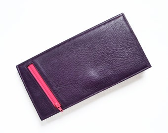 Leather Travel Wallet, Womens Leather Passport Holder, Travel Organizer, Clutch Wallet - The Stella Travel Wallet in Purple