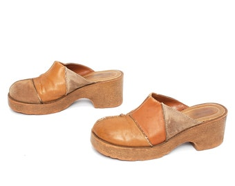 size 9.5 CLOGS tan leather 70s 80s PLATFORM BOHEMIAN patchwork slip on mules