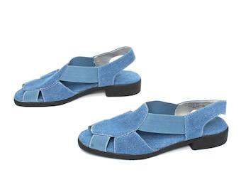 size 8 DENIM blue jean 80s 90s OXFORD slip on CUTOUT sandals