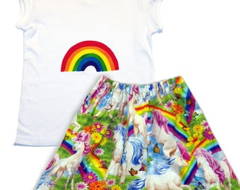 Girl's Unicorn and Rainbow Skirt and Tee shirt Outfit / Girls T-shirt / Babies / Children's Clothes / Kids Outfit