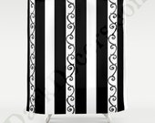 Tim Burton Style Shower Curtain - Goth Style Bathroom Decor  - Original Design- Stripes and Swirls - Dark Decor