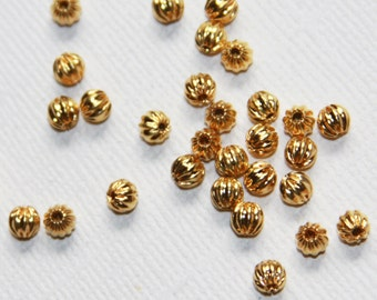 100 pcs gold finished round Corrugated beads 4mm, gold spacer beads, gold loose beads