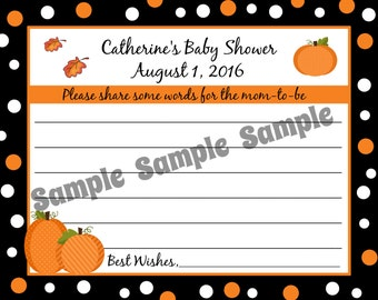 24 Personalized Baby Shower Advice Cards - Pumpkin Design - Fall Baby Shower - Little Pumpkin - Baby Shower Advice