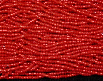 5/0 Seed Beads Red White Heart 16.75 Inch Strand