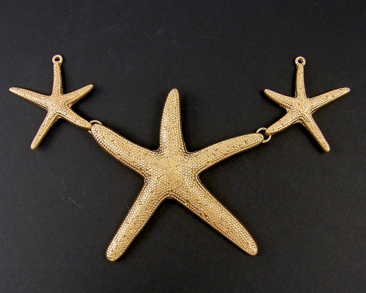 large gold starfish pendant bib necklace statement focal point