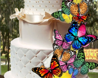 Edible Butterflies, Wafer Cake Decorations ,cupcake toppers,cookie toppers,birthday,cake decoration, Quantity 20