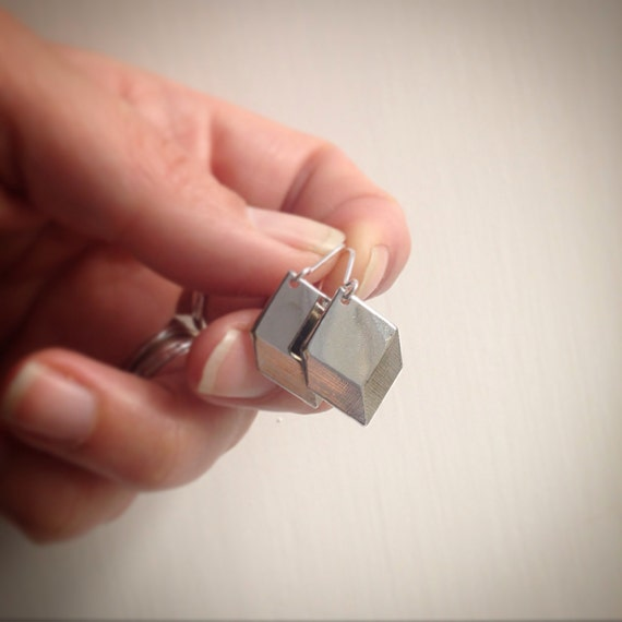 Geometric Square Earrings in Silver Tone - Modern - Simple - Cool - Minimalist - Festival - Everyday